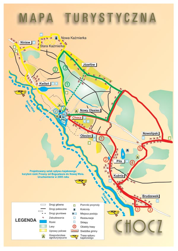 mapa turystyczna gminy Chocz