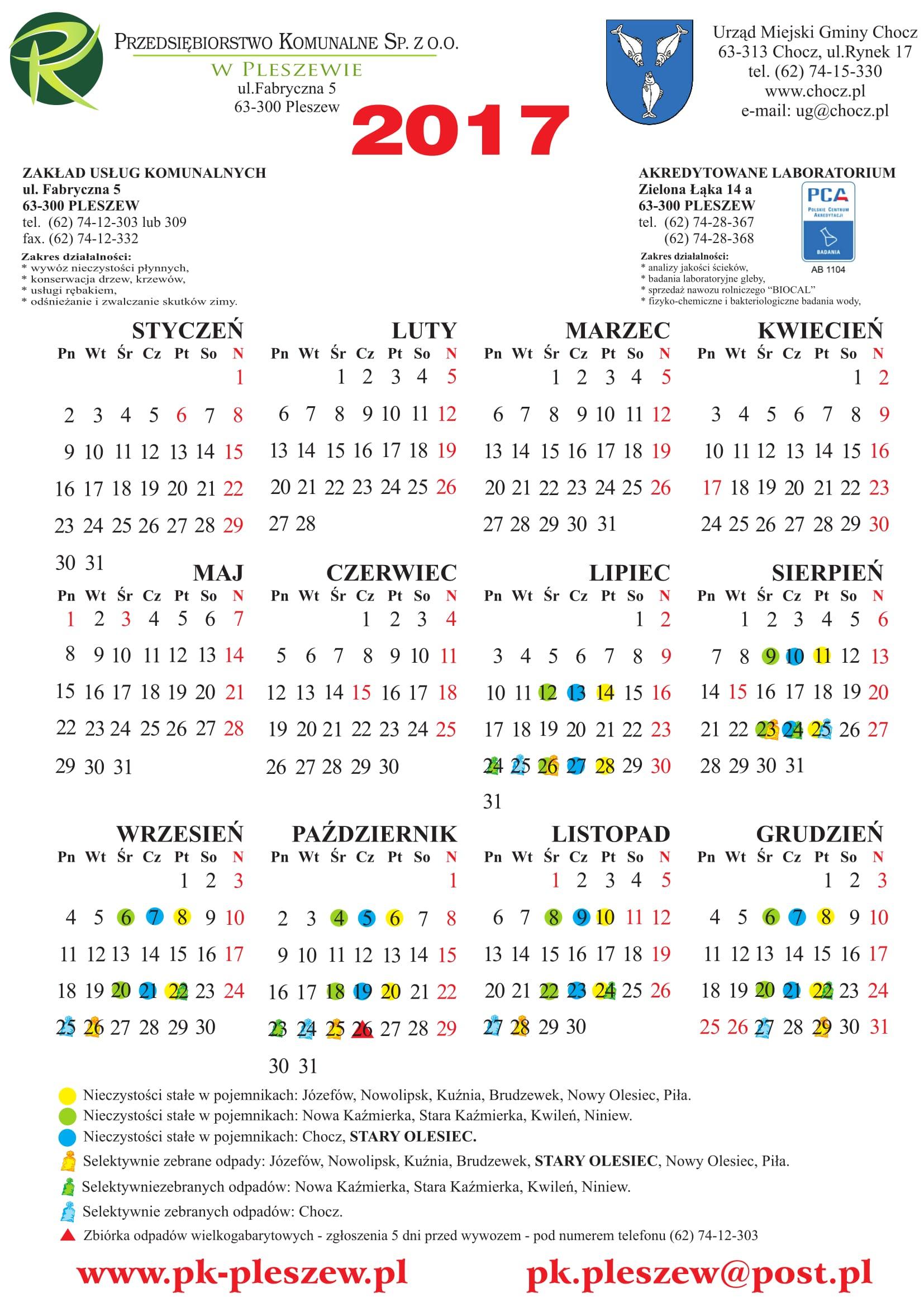 śmieci kalendarz lipiec-grudzień 2017